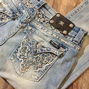 Miss Me JE8005B2R Lace Pocket Boot Cut Jeans 30